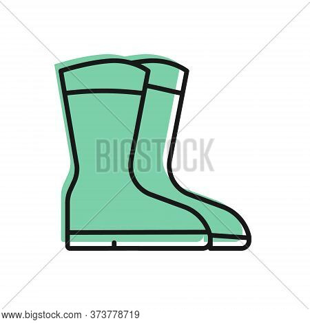 Black Line Fishing Boots Icon Isolated On White Background. Waterproof Rubber Boot. Gumboots For Rai