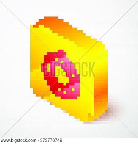 Isometric Line Lifebuoy Icon Isolated On Grey Background. Lifebelt Symbol. Yellow Square Button. Vec