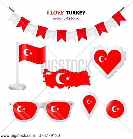 Turkey Symbols Attribute. Heart, Flags, Glasses, Buttons, And Garlands With Civil And State Turkey C