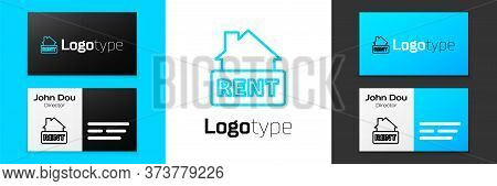 Blue Line Hanging Sign With Text Rent Icon Isolated On White Background. Signboard With Text For Ren