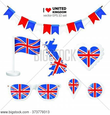 United Kingdom Symbols Attribute. Heart, Flags, Glasses, Buttons, And Garlands With Civil And State