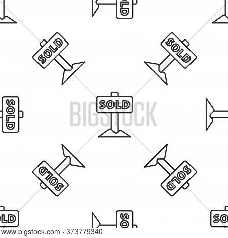 Grey Line Hanging Sign With Text Sold Icon Isolated Seamless Pattern On White Background. Sold Stick
