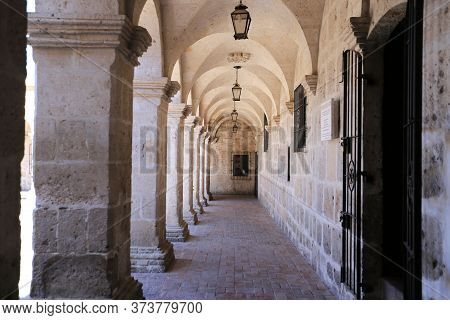 Colonnade Of The Cloister Of The Company Church In Arequipa