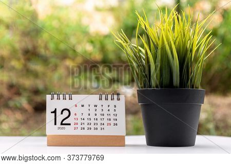 December 2020 Calendar Grey Backgrounds With Copy Space