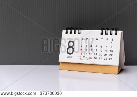 August 2020 Calendar Grey Backgrounds With Copy Space