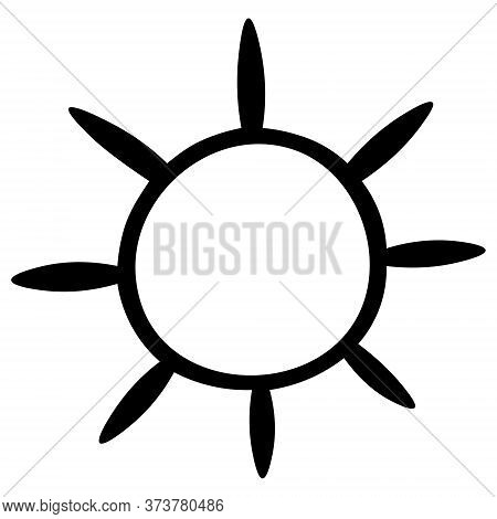 The Sun. Sketch. Vector Illustration. Outline On An Isolated White Background. Doodle Style. Heavenl