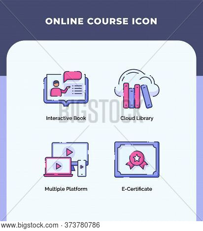 Preview Online Course Icon Interactive Book Cloud Library Multiple Platform E-certificate With Outli