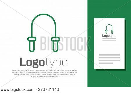 Green Line Jump Rope Icon Isolated On White Background. Skipping Rope. Sport Equipment. Logo Design