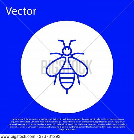 Blue Line Bee Icon Isolated On Blue Background. Sweet Natural Food. Honeybee Or Apis With Wings Symb