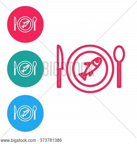 Red Line Served Fish On A Plate Icon Isolated On White Background. Set Icons In Circle Buttons. Vect