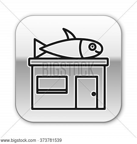 Black Line Seafood Store Icon Isolated On White Background. Facade Of Seafood Market. Silver Square