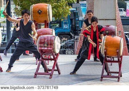 Hiroshima, Japan - September 30, 2019: Japanese Drums Taiko - Kumi-daiko Performance On 10 Motomachi