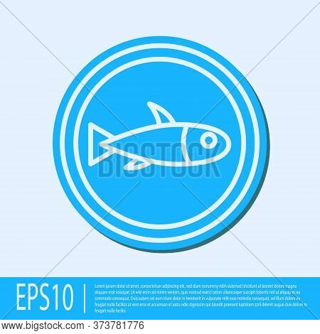 Blue Line Served Fish On A Plate Icon Isolated On Grey Background. Vector.