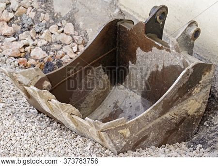 Removable Crawler Excavator Bucket Close-up. The Working Part Of The Excavator For Earthwork