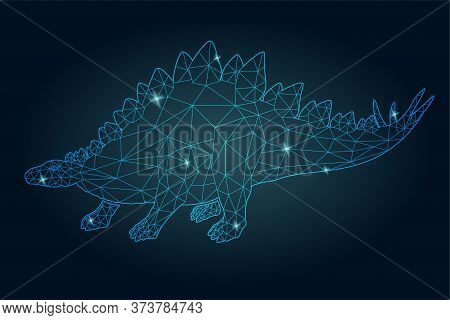 Beautiful Cosmic Low Poly Illustration With Shiny Blue Stegosaurus Silhouette On The Dark Background