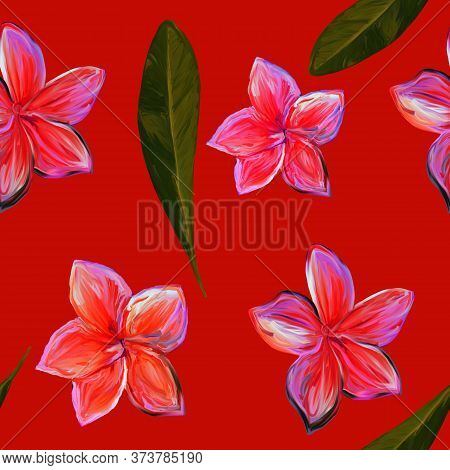 Frangipani Plumeria Tropical Flowers. Seamless Pattern Background. Tropical Floral Summer Seamless P