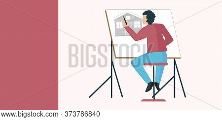 An Artist Makes A Mock Up Of A Brick House - Isolated On A Light Background - Vector. Banner. Diy Ho