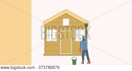 A Man Paints A Brick House With A Brush - Isolated On A Light Background - Vector. Banner. Diy Home