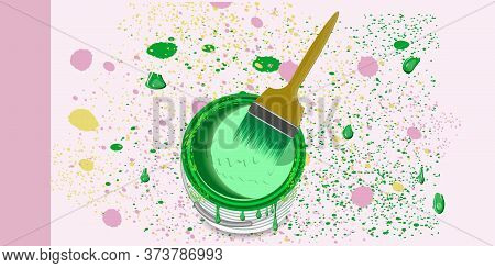 Green Paint Can, Brush, Splattered Stains - Vector. Banner. Diy Home Repair.