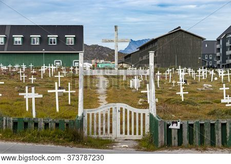 Nuuk, Greenland - August 16, 2019: Entrance Of The Nuuk Cemetery On Aqqusinersuaq Street, Greenland.