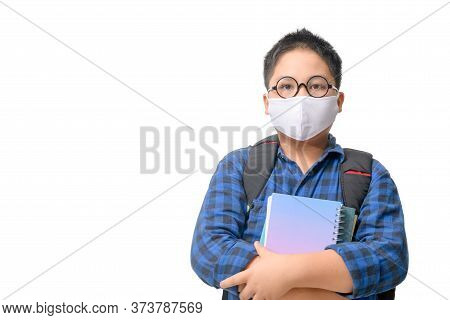 A High School Boy Student Wear Mask And Eye Glasses Carrying  Backpack Isolated On White Background,