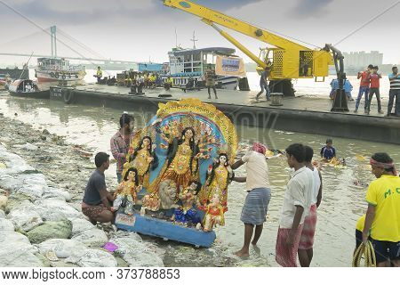 Kolkata, West Bengal, India - 30th September 2017 : Idol Of Goddess Durga Is Being Carried To River