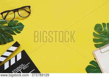 Vintage Red Clock In Coffee Time On Filmmaker Office Table Top View Concept Blank Empty Workspace Mo