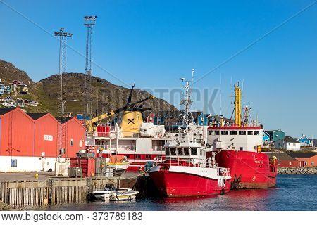 Qaqortoq, Greenland, 2019: The Harbour And Port Of Qaqortoq At Summer In Greenland.