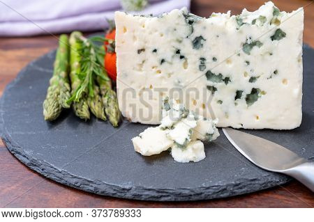 French Cheeses Collection, Piece Of Roquefort, Sheep Milk Soft Blue Cheese From Southern France. Clo