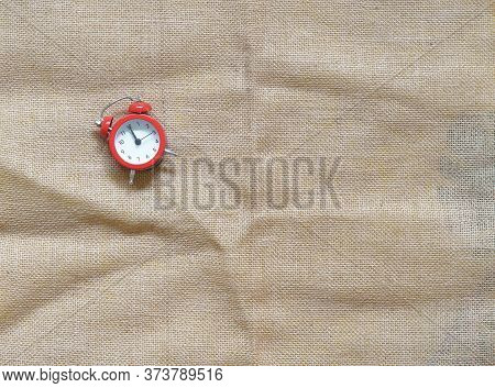 Creative Flat Lay Vintage Clock On Red Office Table Top View Background Concept Alarm Clock On Red P