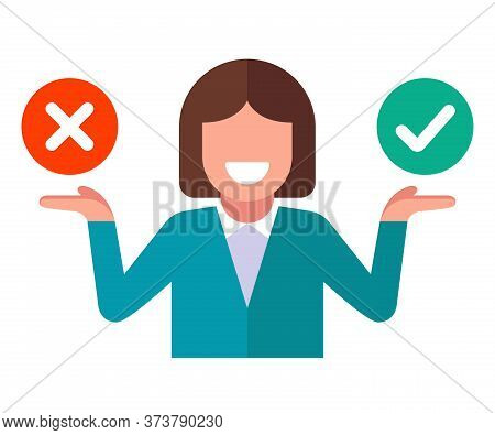The Girl Chooses Either Yes Or No. Ponder Your Decision. Flat Character Vector Illustration On A Whi