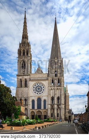Chartres, France. General View Of Mediaeval Cathedral Of Notre Dame, Built Between 1194 And 1250. Un