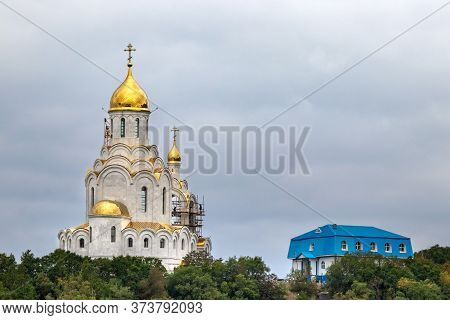Petropavlovsk, Russia - September 16, 2019: View Of The Maritime Cathedral Under Construction Next T