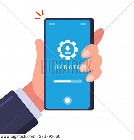 Updating An Old Phone. Download Data For Installation. Flat Vector Illustration.