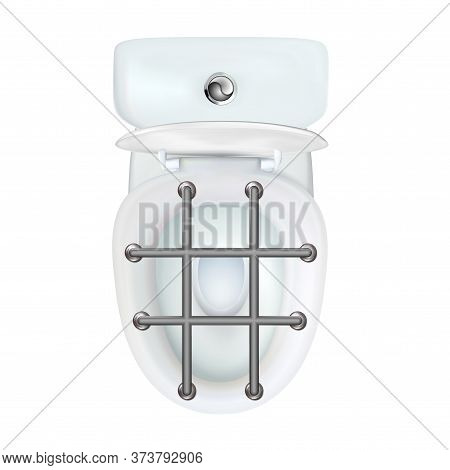 Realistic Open White Toilet Bowl As A Concept Of Constipation Or Intestinal Obstruction. Household I