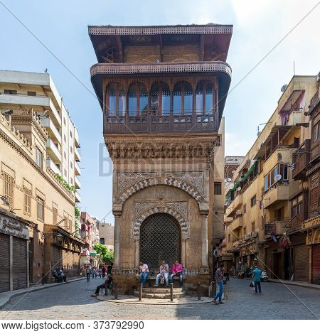 Cairo, Egypt- June 26 2020: Moez Street With Few Local Visitors And Sabil-kuttab Of Katkhuda Histori