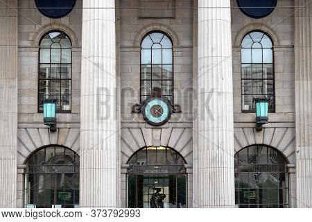 Dublin, Ireland - July 29th, 2019: Detail Of The Facade Of The General Post Office Building In Dubli