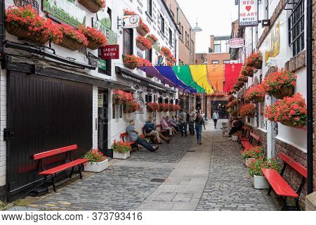 Belfast, Northern Ireland, Uk - July 30, 2019: The Street Commercial Court With The Proud Gay Colors