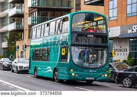Dublin, Ireland - July 29th, 2019: A Double-decker Public Bus In Dublin, Ireland.
