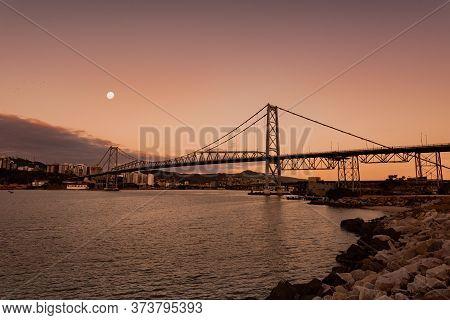 New Bridge Hercilio Luz Florianopolis Santa Catarina Brazil, Image Made From The Continent, Showing
