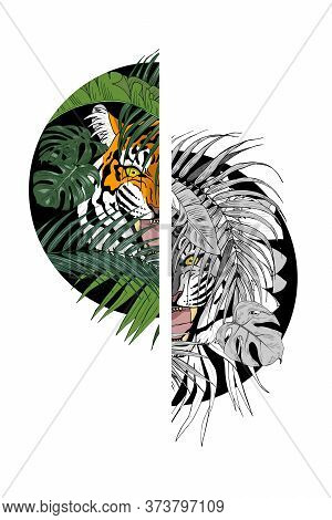Tiger In The Jungle, Predator Among The Leaves Lurking, Print For Clothing Design, Vector Illustrati