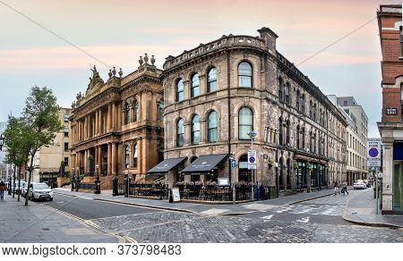 Belfast, Northern Ireland, Uk - July 30, 2019: Panorama Of The Waring St. And The Skipper St In Belf