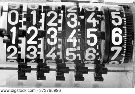 Large White Numbers Of An Analog Meter Of The Electricity Consumed By Domestic Or Commercial Users
