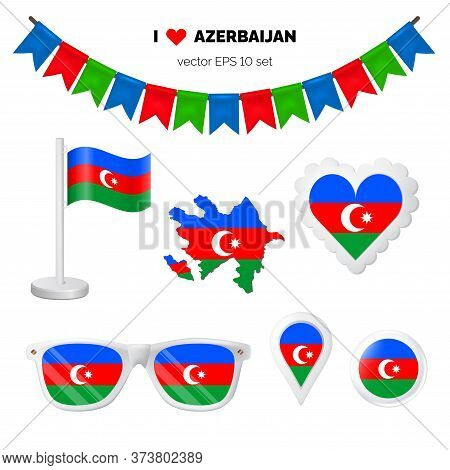Azerbaijan Symbols Attribute. Heart, Flags, Glasses, Buttons, And Garlands With Civil And State Azer