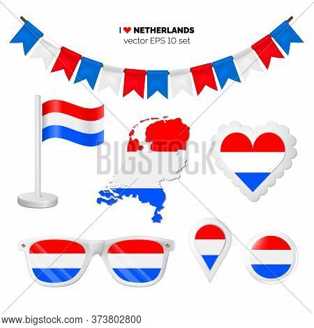 Netherlands Symbols Attribute. Heart, Flags, Glasses, Buttons, And Garlands With Civil And State Net