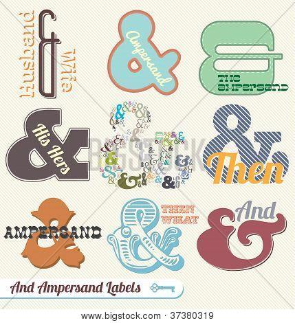 Vector Set:Vintage Ampersand Labels