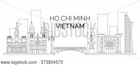 The Landscape Of The Vietnam Ho Chi Minh. Vector Outline Of Buildings And Bridge Of Ho Chi Minh. Vec