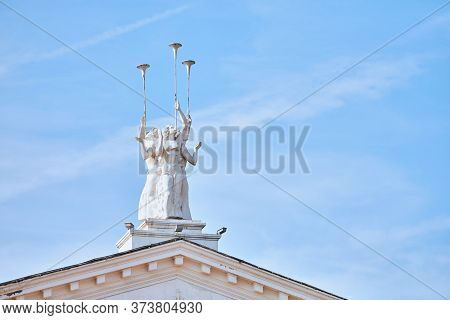 Voronezh, Russia - 22.08.2019 - Voronezh Opera And Ballet Theater. Statue On The Roof.