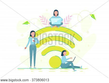 business people.People in free internet zone working on laptops sitting on a big wifi sign.business people. Free wifi hotspot, wifi bar, portable device concept. Business people. Business background. Infographic business arrow shape template design. Busin