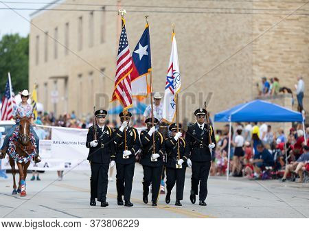 Arlington, Texas, Usa - July 4, 2019: Arlington 4th Of July Parade, Police Officers Of The Honor Gua